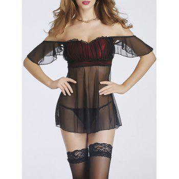 Off-The-Shoulder Sheer Ruffled Babydoll