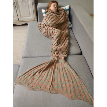 Kids Sleeping Bag Fish Scales Design Knitted Mermaid Blanket - ORANGE ORANGE
