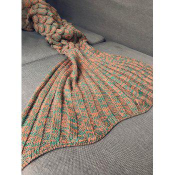 Kids Sleeping Bag Fish Scales Design Knitted Mermaid Blanket -  ORANGE