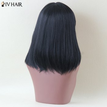 Siv Hair Medium Straight Side Bang Human Hair Wig - JET BLACK
