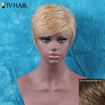 Siv Hair Shaggy Short Straight Side Bang Human Hair Wig