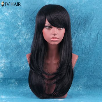 Siv Hair Layered Tail Adduction Long Side Bang Human Hair Wig - JET BLACK