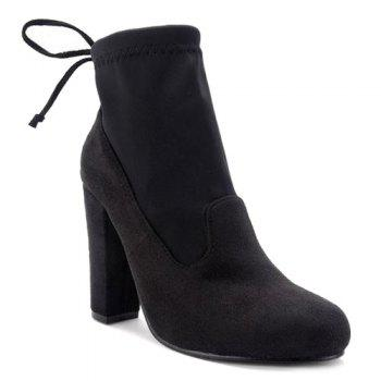 Tie Up Splicing Stretch Fabric Ankle Boots