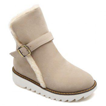 Buckle Strap Flat Heel Snow Boots