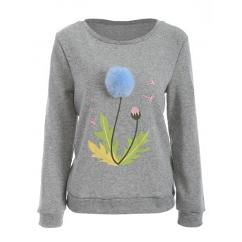 Buy Pom Ball Floral Print Sweatshirt GRAY