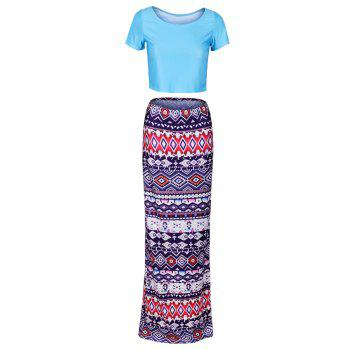 Scoop Neck Crop Top and Ethnic Print Skirt
