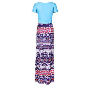 Scoop Neck Crop Top and Ethnic Print Skirt - BLUE BLUE