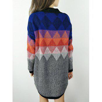 Ombre Knit Argyle Sweater Dress - COLORFUL ONE SIZE