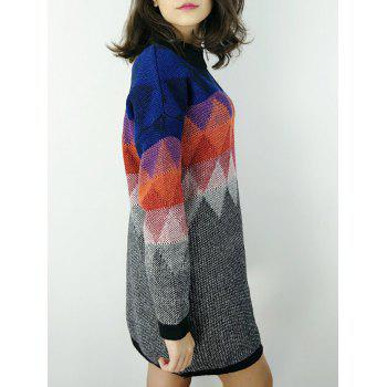 Ombre Knit Argyle Sweater Dress