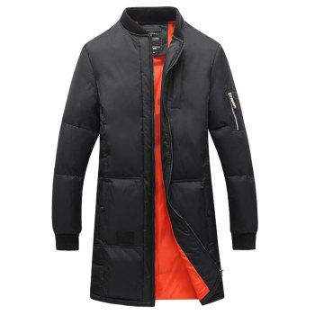 Thicken Stand Collar Lengthen Zip Up Down Coat