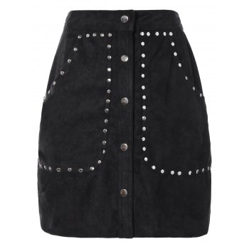 Rivet Sueded A Line Skirt
