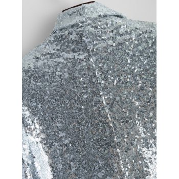 Punk Style Sequined Blazer - SILVER SILVER