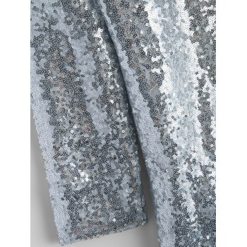 Punk Style Sequined Blazer - SILVER M