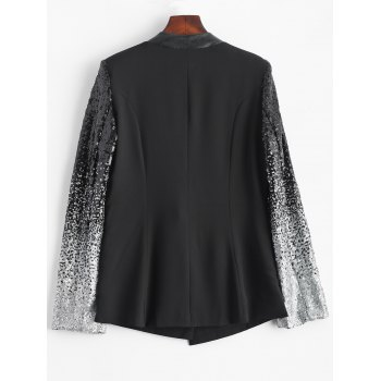 Punk Style Sequined PU Leather Insert Blazer - BLACK BLACK