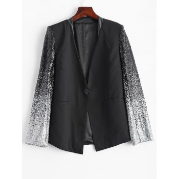 Punk Style Sequined PU Leather Insert Blazer