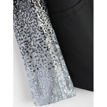 Punk Style Sequined PU Leather Insert Blazer - BLACK 2XL