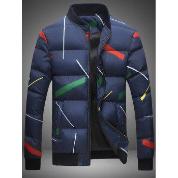 Stand Collar Plus Size Colorful Ribbon Print Zip Up Down Jacket