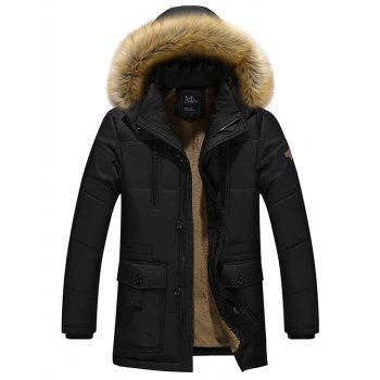 Furry Hood Flocking Plus Size Quilted Coat
