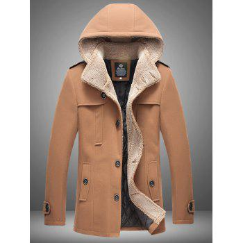 Hooded Plus Size Flocking Single Breasted Woolen Coat