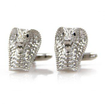 Concise Cobra Head Shape Cufflinks - SILVER SILVER