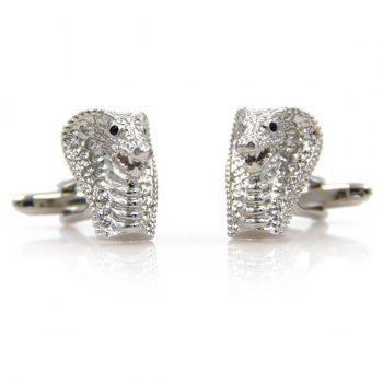 Concise Cobra Head Shape Cufflinks - SILVER