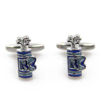 Concise Golf Bag Shape Cufflinks