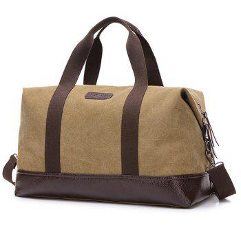 Canvas PU Leather Panel Weekend Bag - ARMY GREEN