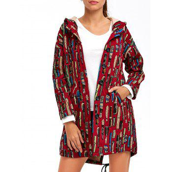 Drawstring Hooded Printed Coat