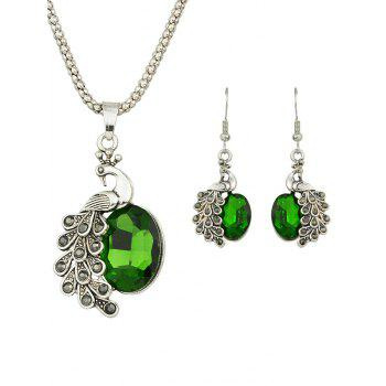 Artificial Gem Peacock Necklace and Earrings
