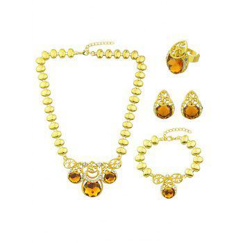 Artificial Gem Necklace Earrings Bracelet and Ring