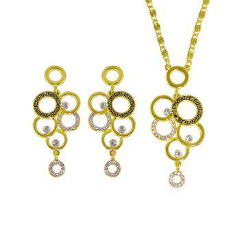 Rhinestone Round Necklace and Earrings