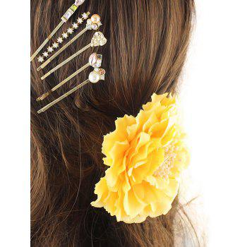 Rhinestone Artificial Pearl Flower Hairpin Set