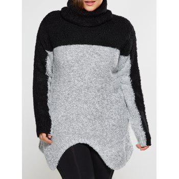 Plus Size Two Tone Asymmetrical Fuzzy Sweater