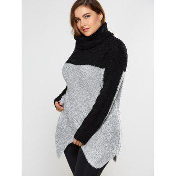Plus Size Two Tone Asymmetrical Fuzzy Sweater - GRAY 4XL