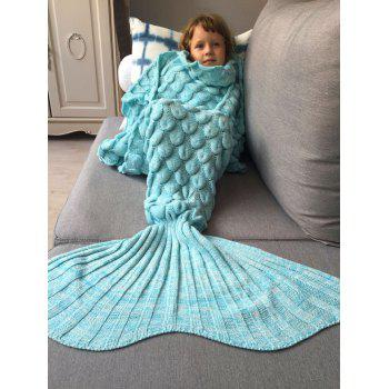 Kids Sleeping Bag Fish Scales Design Knitted Mermaid Blanket -  AZURE