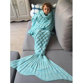 Kids Sleeping Bag Fish Scales Design Knitted Mermaid Blanket - AZURE AZURE