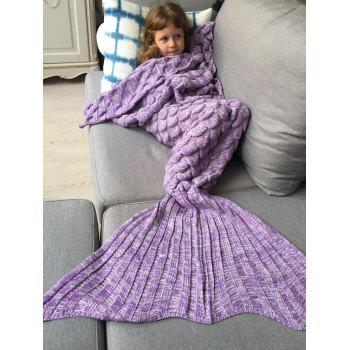 Kids Sleeping Bag Fish Scales Design Knitted Mermaid Blanket