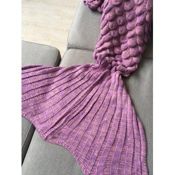 Kids Sleeping Bag Fish Scales Design Knitted Mermaid Blanket - PINKISH PURPLE