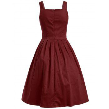 Vintage Sleeveless Buttoned Swing Dress - WINE RED S