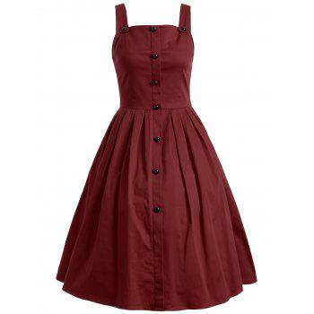Vintage Sleeveless Buttoned Swing Dress - WINE RED WINE RED