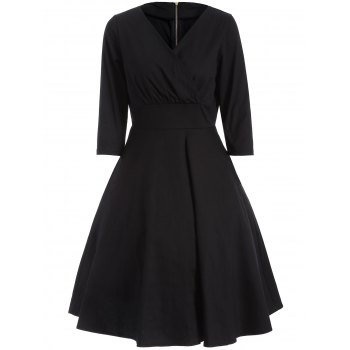 Ruched Surplice Flare Dress - BLACK L