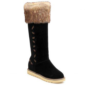 Hidden Wedge Stringing Faux Fur Snow Boots