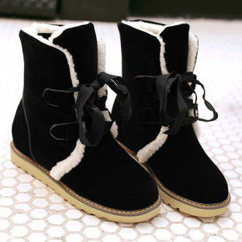Tie Up Platform Suede Snow Boots