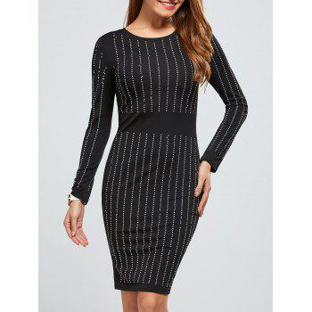 Rhinestoned Long Sleeve Dress