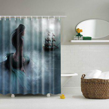 Bathroom Decor Mildewproof Waterproof Mermaid Shower Curtain