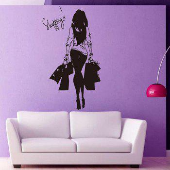 Shopping Girl Removable Living Room Decor Wall Stickers