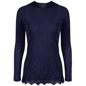 Lace Insert Hooded T-Shirt