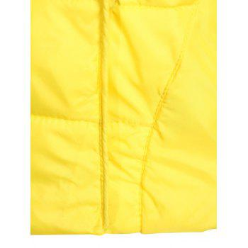 Double Pocket Short Slim Quilted Jacket - YELLOW YELLOW