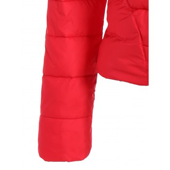 Double Pocket Short Slim Quilted Jacket - RED RED
