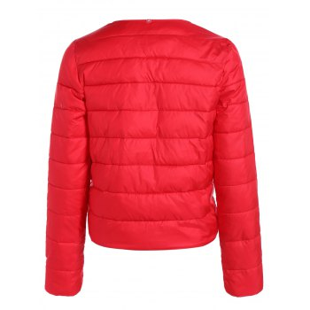 Double Pocket Short Slim Quilted Jacket - RED M